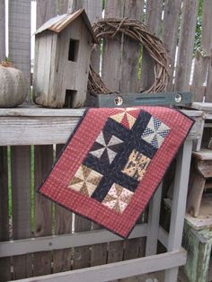 Civil War Pinwheels Hand Quilted Mini Quilt by thePATchworksshop
