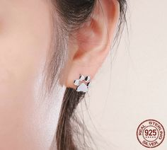 Sterling Silver Dog Paw Footprint Earring cc8aaa8edd06