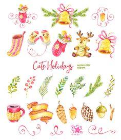 Vacanze carine. Clipart dell'acquerello Natale inverno