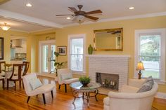 Open Floor Plan to Formal Dining Room and French Doors to Deck--Great light in these rooms