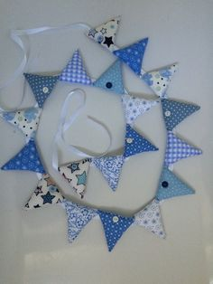 Blue Fabric Bunting   Blue Fabric Garland  by DaisyDoodleTwo