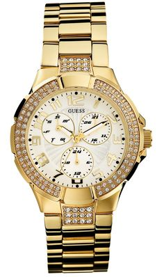 A collection of Iconic signature combinations inspired by the GUESS lifestyle. Trendy fashion-forward designs from GUESS Watches offer dynamic styling. Skagen, Fine Watches, Guess Watches, Ladies Watches, Women's Watches, Wrist Watches, Beautiful Watches, Gold Fashion, Ladies Fashion