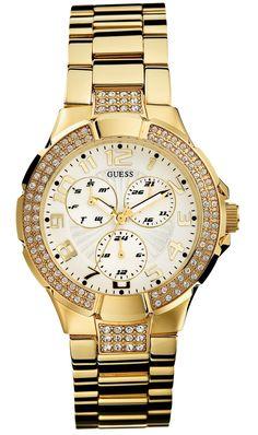 Dame guld ur med krystaller - Guess Prism
