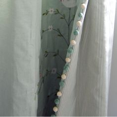 Beautiful curtains with duck egg blue and ivory pom pom trim Window Coverings, Window Treatments, Curtain Styles, Curtain Ideas, Curtain Fabric, Curtain Lining, Curtain Trim, Curtains With Blinds, Baby Curtains