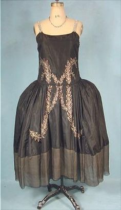 c. 1924 EMERY BIRD THAYER CO., Kansas City Black Silk Flapper Robe de Style Dress