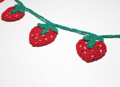 Strawberry Crochet Garland, Summer Party Decor, Kitchen Decor, Bunting, Fruit, Party Decoration