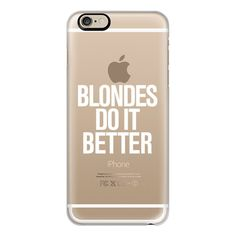 iPhone 6 Plus/6/5/5s/5c Case - Blondes do it Better Transparent White... ($40) ❤ liked on Polyvore featuring accessories, tech accessories, phone, phone cases, iphone case, white iphone case, iphone cover case, apple iphone cases and slim iphone case