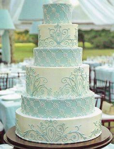 Light blue tiered wedding cake