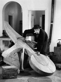Joseph Beuys in his atelier, Old Klever Kurhaus, 1958