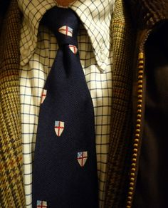 Tattersall Monday. Under grey skies, a 'Baggy Button-Down' OCBD, Robert Noble tweed J. Press jacket, an old favorite emblematic tie, Beaufort jacket.