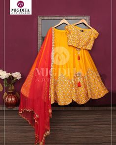 Marvelous lehenga with artistic hand made design from the house of Mugdha Art Studio. They can customize the color size as per your requirement. Product code-LHG 309 To Order : WhatsApp: 8142029190 / 9010906544 . Raw Silk Lehenga, Half Saree Lehenga, Kids Lehenga, Bridal Lehenga Choli, Indian Lehenga, Sari, Punjabi Lehenga, Rajasthani Lehenga, Ghagra Choli