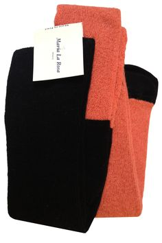 Tights Double color black and coral. 40% cotton 40% wool 18% poly 2% elastan