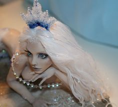 "OOAK Fantasy Art Doll Sculpture Fairy Faerie ""Frozen Mermaid"" Dollfun 