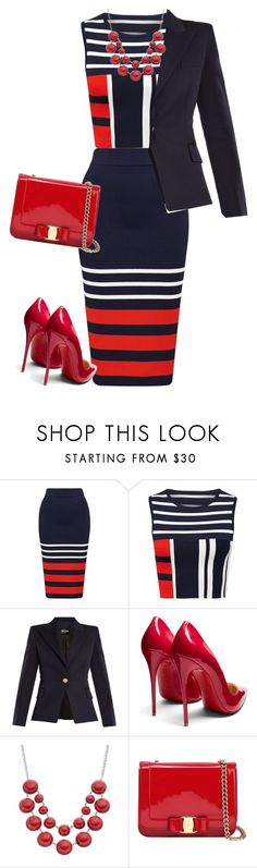 """outfit 7461"" by natalyag ❤ liked on Polyvore featuring Balmain, Christian Louboutin and Salvatore Ferragamo"