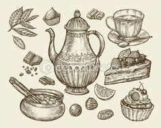 Żywność, herbata, desery. Ręcznie rysowane vintage czajniczek, czajnik, kubek, CUKIERNICA, czekolada, cukierki, Keks, ciasta, kawałek tortu. Szkic wektor ilustracja — Ilustracja stockowa #115185022