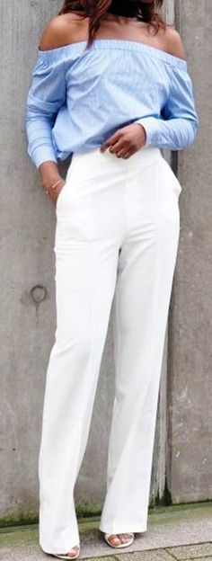 #spring #street #style #outfit #ideas |Blue OTS Top   White Pants