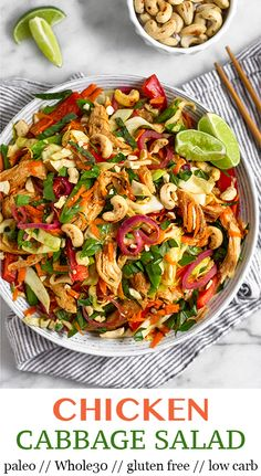 Protein and veggie packed Asian Chicken Cabbage Salad with cabbage, peppers, carrots, chicken, cashe Healthy Salad Recipes, Paleo Recipes, Real Food Recipes, Protein Recipes, Easy Recipes, Edamame, Clean Eating Snacks, Healthy Eating, Chicken And Cabbage