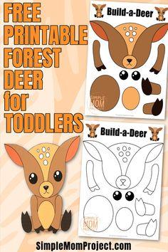 Forest Animal Crafts, Animal Crafts For Kids, Toddler Crafts, Preschool Crafts, Forest Animals, Easy Art For Kids, Crafts For Kids To Make, Projects For Kids, Printable Crafts