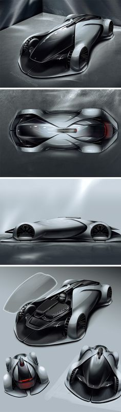 This concept Porsche race car by Zhang Ningbo showcases a highly fluid design with a slight Daniel Simon touch to it. The electric car is for a future in which drivers won't sit within the car, but outside, with remote-controllers, operating the cars like drones.