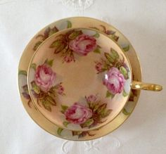 Aynsley Cabbage Rose China Tea Cup & Saucer by NicerThanNewVintage