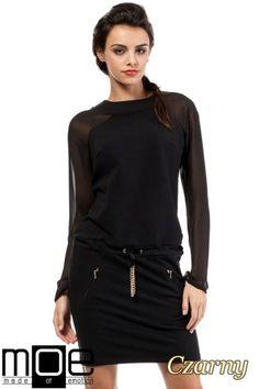 CM2054 Koktajlowa sukienka z raglanowymi rękawami - czarna