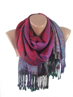 b37107517 Purple Pashmina Scarf Shawl Mothers Day Gift Purple Scarf www.scarfclub.net  Paisley Scarves