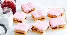 Perfect for morning or afternoon tea, this easy buttery shortbread slice is layered with thick raspberry jam and topped with pretty pink icing. No Bake Slices, Cake Slices, Coconut Slice, Chocolate Slice, Tea Snacks, Pink Icing, Four, Afternoon Tea, Sweet Treats