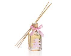 Profumatore bimba 50 ml essenza talcata con sagoma in gesso profumato applicata placca in argento piccola e 5 confetti.