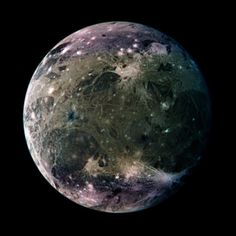 Ganymede. One of Jupiter's Moons. Largest satellite in the solar system with a diameter of 3270 mi. It is larger than Mercury & Pluto, & 3/4 the size of Mars. If Ganeymede orbited the Sun instead of Jupiter, it would be classified as a planet.