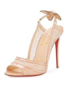 X3E1C Christian Louboutin Hot Spring Butterfly 100mm Red Sole Pump, Doudou