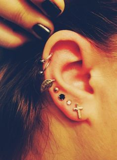 I'm starting to like the hoop cartilage piercings toward the top side of the ear.