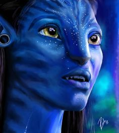 Neytiri from the movie Avatar by James Cameron James Cameron, Avatar Films, Avatar Movie, Zoe Saldana, Realistic Drawings, Art Drawings, Avatar Tattoo, Avatar Costumes, Avatar Poster