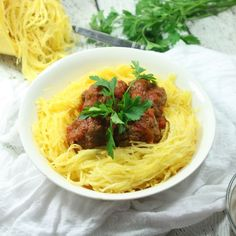 Paleo & Whole30 Italian Meatballs with Spaghetti Squash