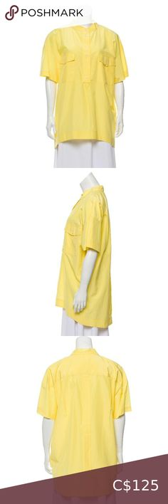 """Piazza Sempione short sleeve oversized button up Yellow oversized long sleeved button up shirt with mandarin collar and dual flap pockets. Excellent condition.  Bust: 44"""" Waist: 44"""" Length: 33""""  61% cotton, 39% silk Piazza Sempione Tops Button Down Shirts Plus Fashion, Fashion Tips, Fashion Trends, Mandarin Collar, Colorful Shirts, Button Up Shirts, Ruffle Blouse, Buttons, Pockets"""