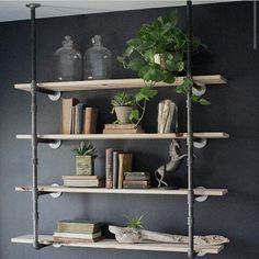 Simple shelving with chalk board back #rustic