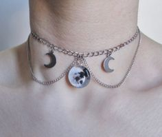 moon choker necklace full moon necklace gothic by OfStarsAndWine