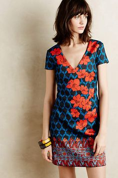 Love the color and neckline.  A little too fitted looking?  Granada Petite Dress - anthropologie.com