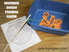 Free Printable Number Sense Fishing Game for Preschool or Kindergarten via www.pre-kpages.com
