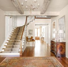 Antelope stair runner for both sets of stairs Foyer Staircase, Staircase Runner, Entry Stairs, Entry Hallway, Staircases, Grand Entryway, Basement Stairs, Stair Railing, Hallway Carpet Runners