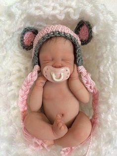 OOAK Hand Sculpted Mini Polymer Clay Baby GIRL Miniature
