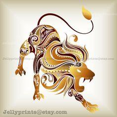 Lion Leo Art Print Art by JellyPrints on Etsy Horoscope Lion, Astrology Leo, Leo Zodiac, Zodiac Art, Scorpio, Zodiac Signs, Lion And Lioness, Leo Lion, Lion Vector