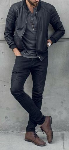 Leather jacket: 20 ideas for the men& look Men& casual, men& clothing, . Jaqueta de couro: 20 ideias para usar no look masculino Stylish Mens Outfits, Casual Outfits, Men Casual, Casual Menswear, Mens Casual Boots, Mens Fall Boots, Menswear 2018, Look Casual, Casual Wear