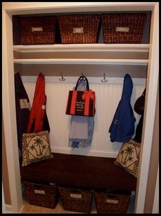 Picture Your World Organized & Easier: Convert a coat closet into a functional Catchall Closet! For when the doors break. Front Hall Closet, Closet Redo, Hallway Closet, Closet Doors, Closet Mudroom, Closet Remodel, Closet Ideas, Entry Organization, Coat Closet Organization