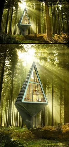 Primeval Symbiosis -Single Pole House by Konrad Wójcik- structure that would not have any footprint in nature
