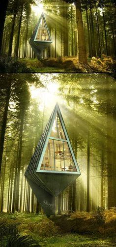 Primeval Symbiosis -Single Pole House by Konrad Wójcik