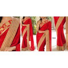 Designer Red Georgeet Saree by Vendorvilla