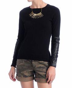 Sanctuary Vegan Leather Sleeve Sweater - YES