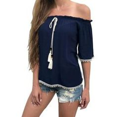 Womens Tops and Blouses for Summer 2017 Casual Lady Tassel Sexy Off Shoulder Shirt Short Sleeve Tops Slash Neck Blue Blusas