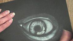 Demo on using white chalk on black paper