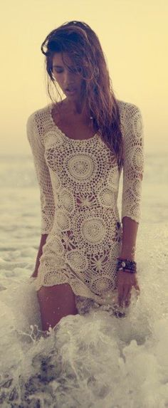 Vintage 1970s crocheted lace three quarter sleeve bohemian beach wedding dress photo shoot inspiration